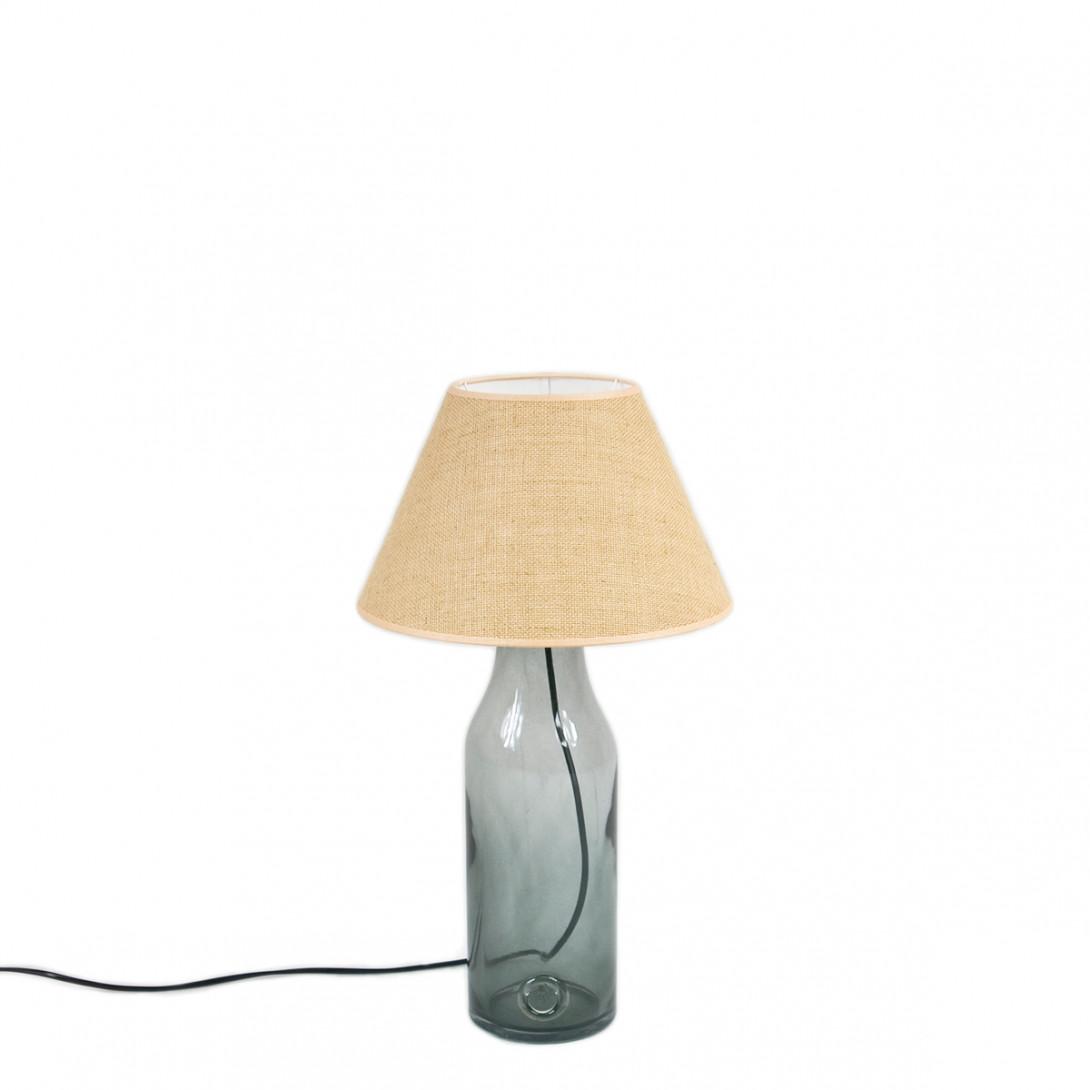 Lampa stołowa szklana szara z abażurem FOG small LGH0190 - gie el