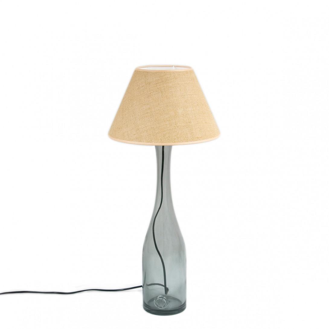 Lampa stołowa szklana szara z abażurem FOG medium LGH0191