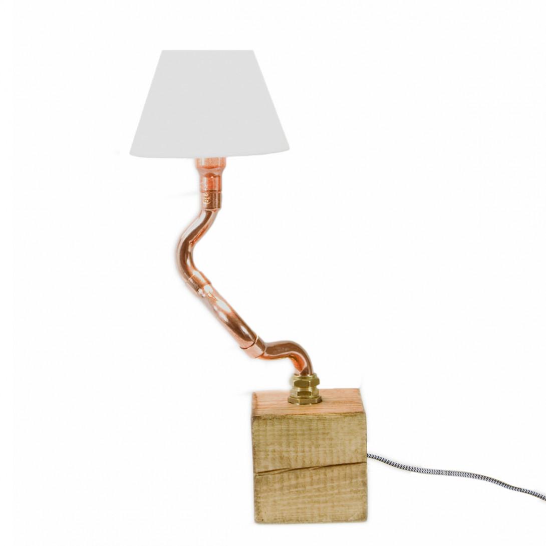 Lampa stołowa miedziana z abażurem BONZAI I LGH0211