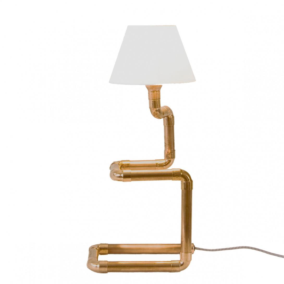 Lampa stołowa miedziana z rurek z abażurem SNAKE LGH0220