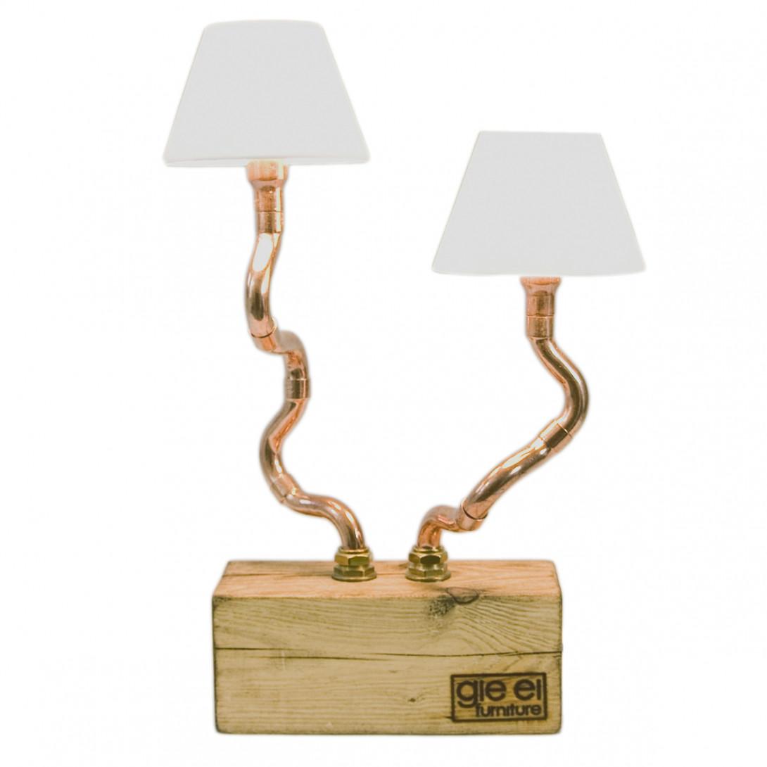 Lampa stołowa miedziana z abażurami BONZAI II LGH0210 - gie el
