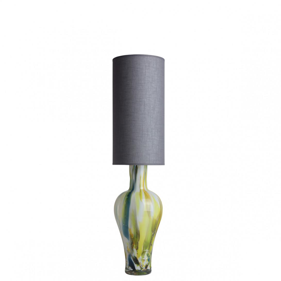 Lampa stołowa szklana z szarym abażurem APOLLO LGH0590