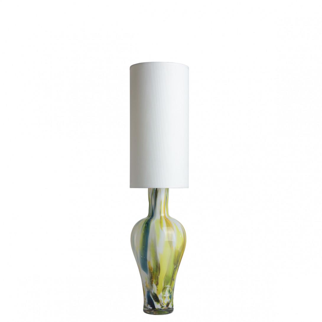 Lampa stołowa szklana z białym abażurem APOLLO LGH0591 - gie el