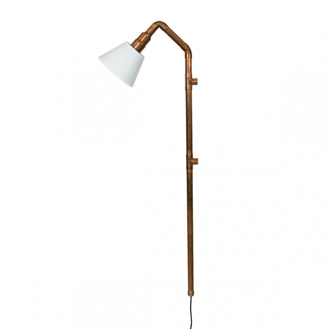 Lampa ścienna miedziana z rurek WAND z abażurem LGH0273