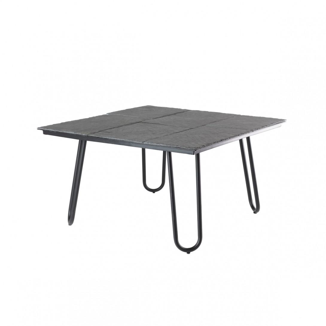 Kamienny stolik kawowy ZEN V-1 na czarnych nogach FCT0275