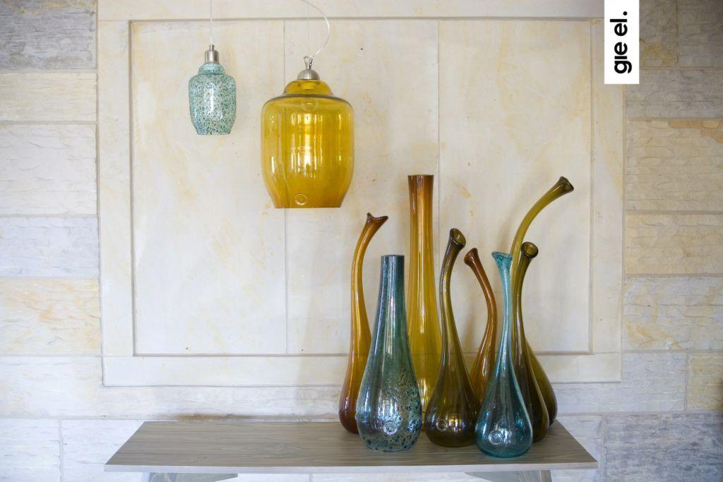 Szklany wazon STALACTITE BIG turkusowy AGL0101 - Gie El