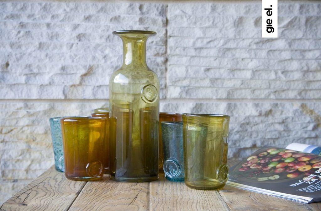 Szklana karafka COLLAR oliwkowa AGL0122 - Gie El