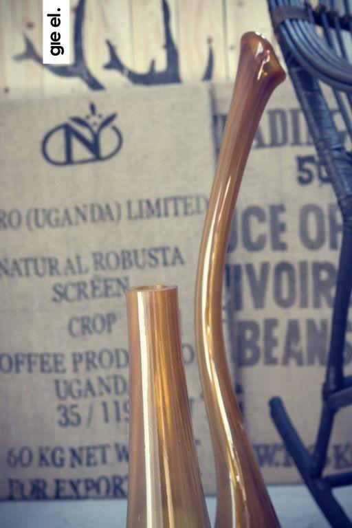 Wazon szklany SWAN średni miodowy AGL0150 - Gie El