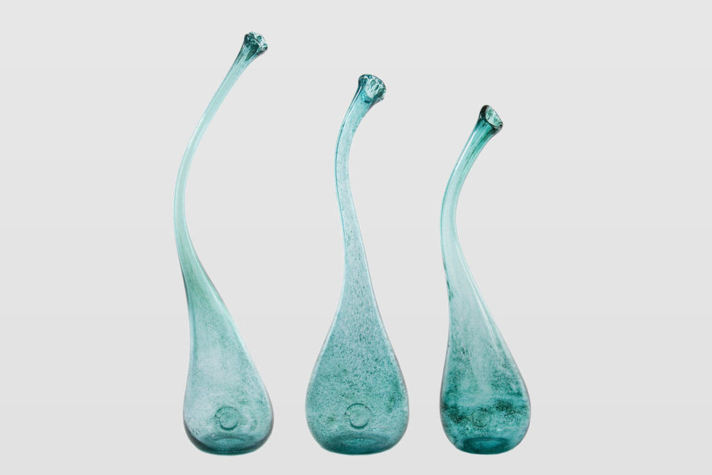 Set of SWAN turquoise vases by Gie El