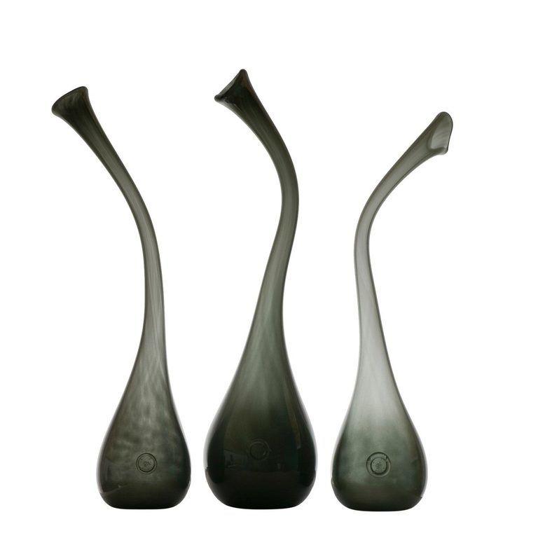 grey glass vase AGL0143