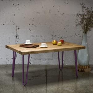 Stolik kawowy drewniany VILLAGE DOOR na fioletowych nogach FCT0013 - Gie El