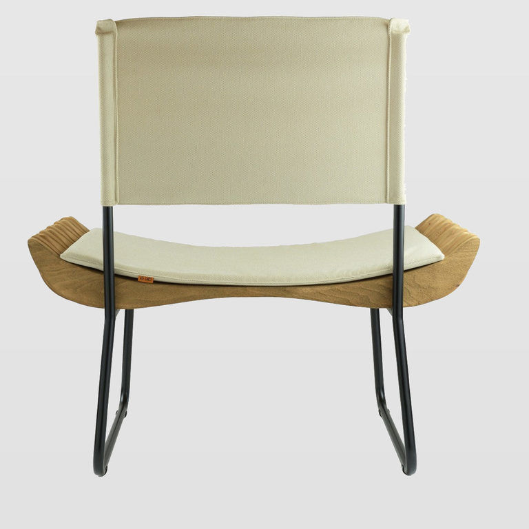 Fotel drewniany ORGANIQUE FST0283 beżowe siedzisko - Gie El