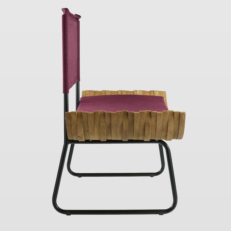 Fotel drewniany ORGANIQUE FST0284 fioletowe siedzisko - Gie El