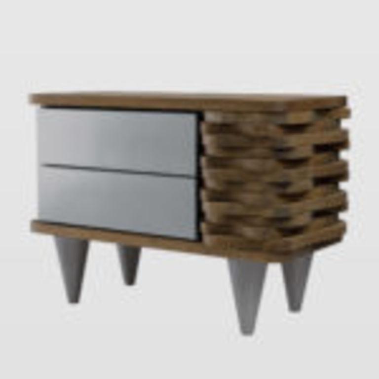 Drewniany Stolik Nocny Organique Srebrne Szuflady Fur0131