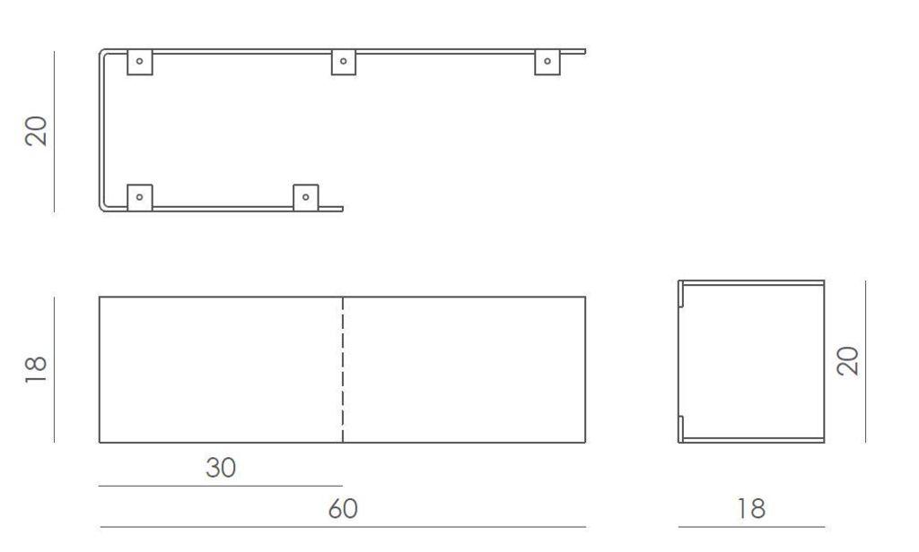 Półka asymetryczna C biała ASH0061 - Gie El