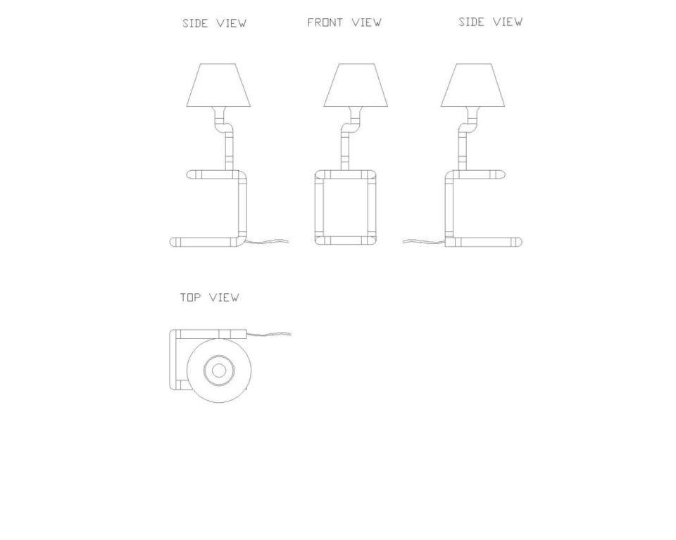 Lampa stołowa miedziana z rurek z abażurem SNAKE LGH0220 - Gie El