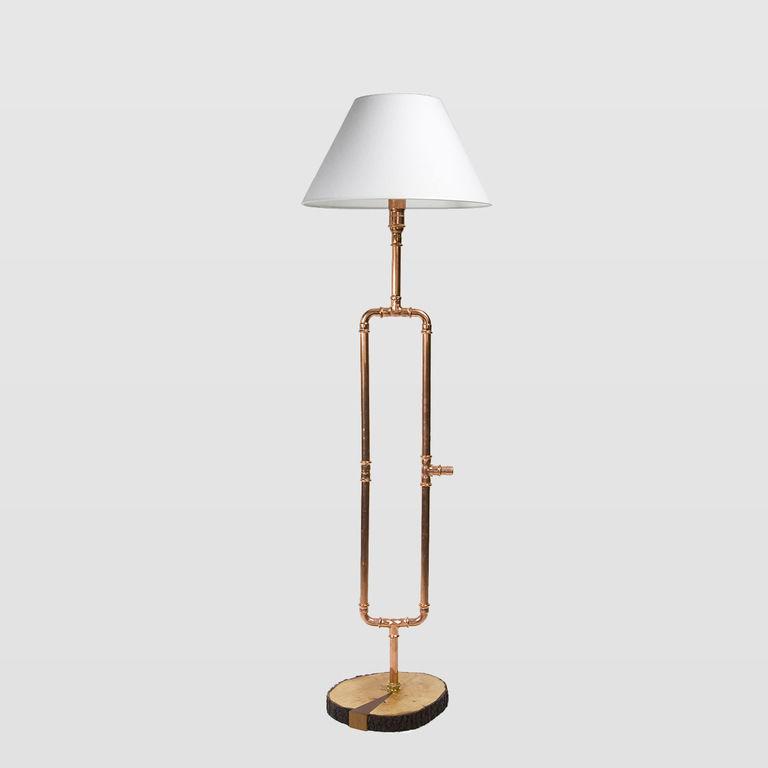 Miedziana lampa podłogowa z abażurem PORTAL II LGH0010 - Gie El