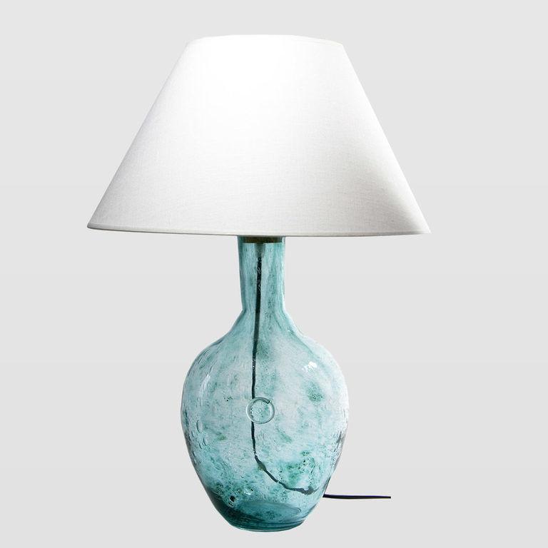 Lampa stołowa szklana turkusowa z abażurem RAFAELLO LGH0071 - Gie El