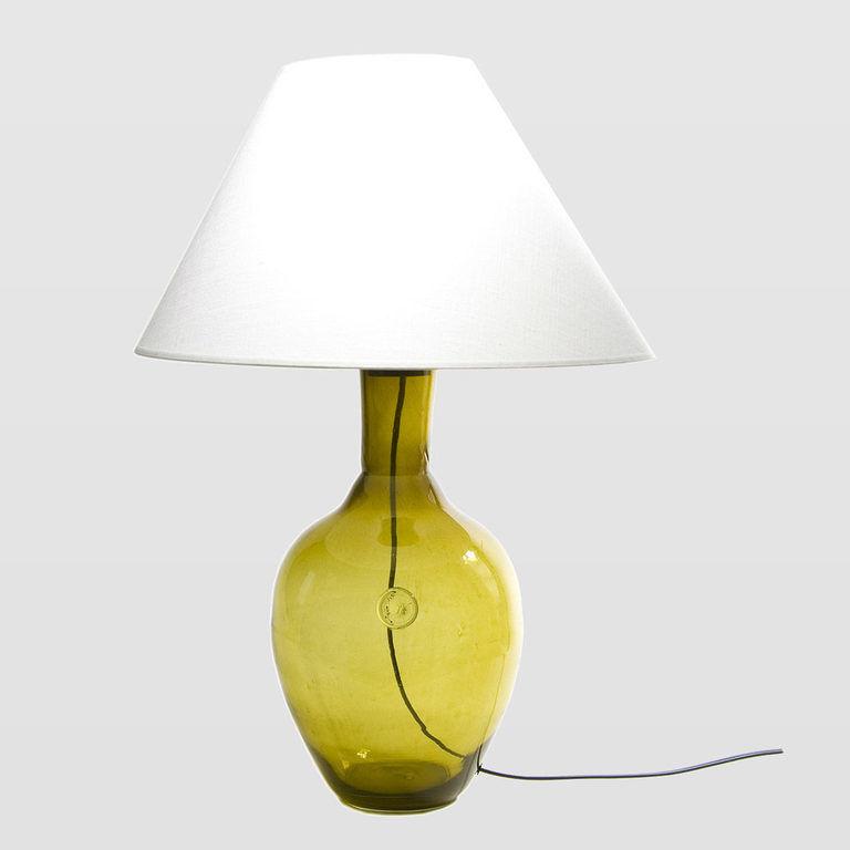 Lampa stołowa szklana oliwkowa z abażurem RAFAELLO LGH0072 - Gie El