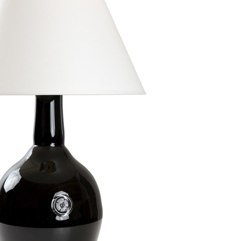 Lampa stołowa szklana czarna z abażurem RAFAELLO LGH0074 - Gie El