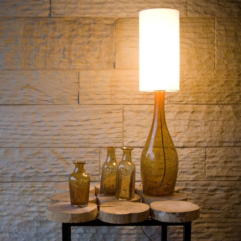Lampa stołowa szklana miodowa z abażurem ANGEL LGH0170 - Gie El