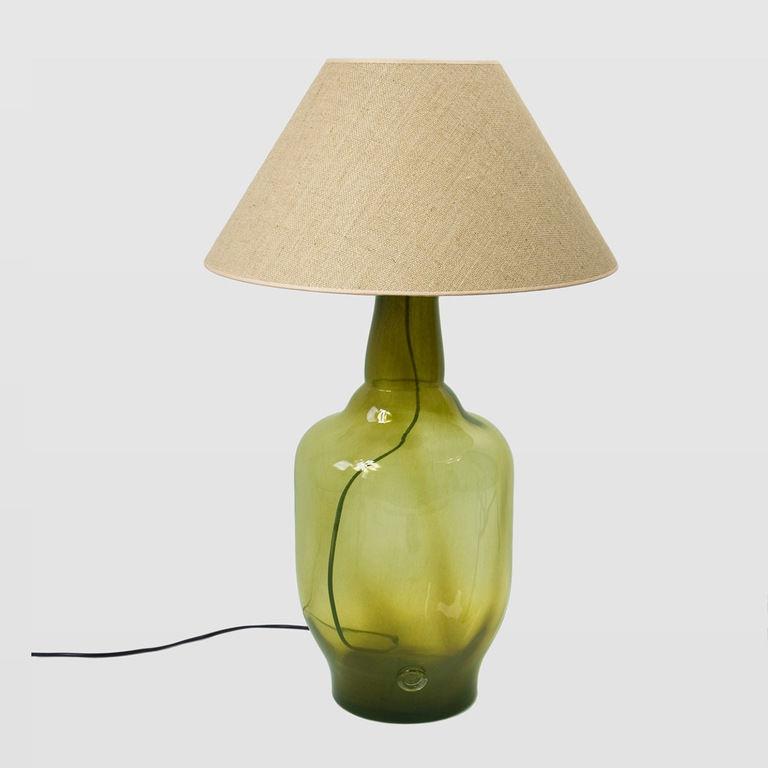 Lampa stołowa szklana oliwkowa z abażurem BEE LGH0182 - Gie El