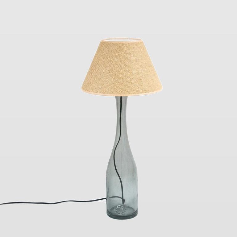 Lampa stołowa szklana szara z abażurem FOG medium LGH0191 - Gie El