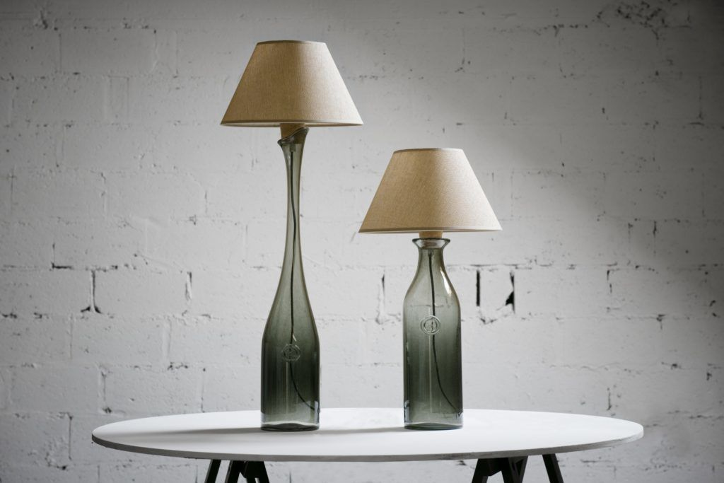 Lampa stołowa szklana szara z abażurem FOG big LGH0192 - Gie El