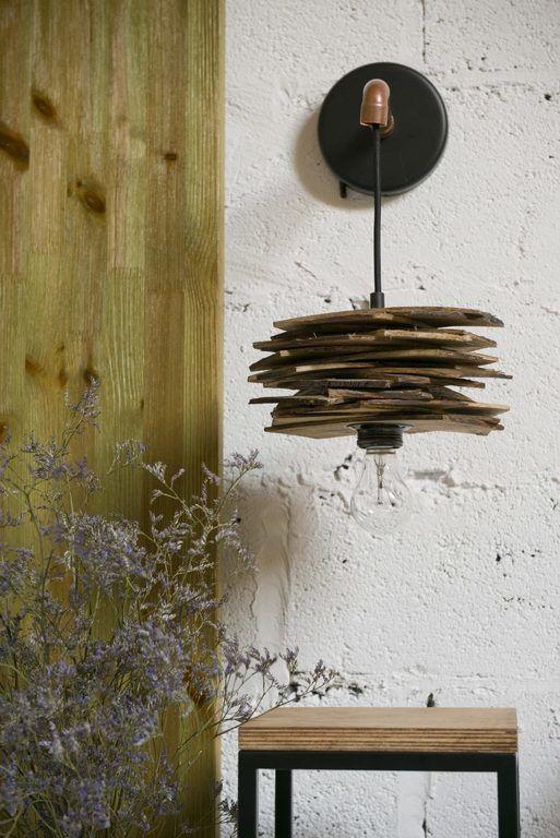Lampa ścienna drewniana z rurką miedzianą SHINGLE LGH0244 - Gie El
