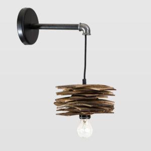 Lampa ścienna drewniana z rurką stalową SHINGLE LGH0245 - Gie El
