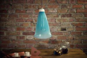 Lampa wisząca szklana HORN pastelowo turkusowa LGH0261 - Gie El