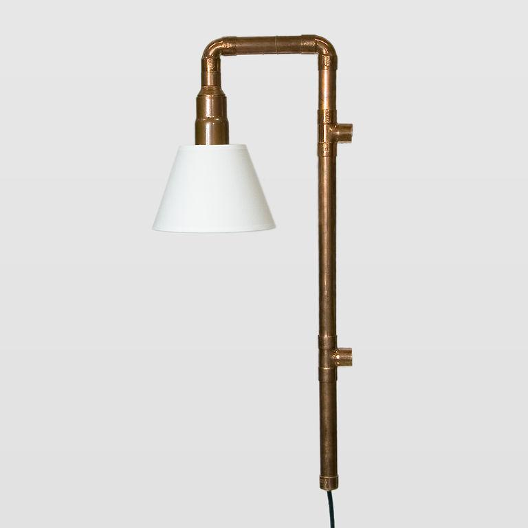 Lampa ścienna miedziana z rurek WAND z abażurem LGH0272