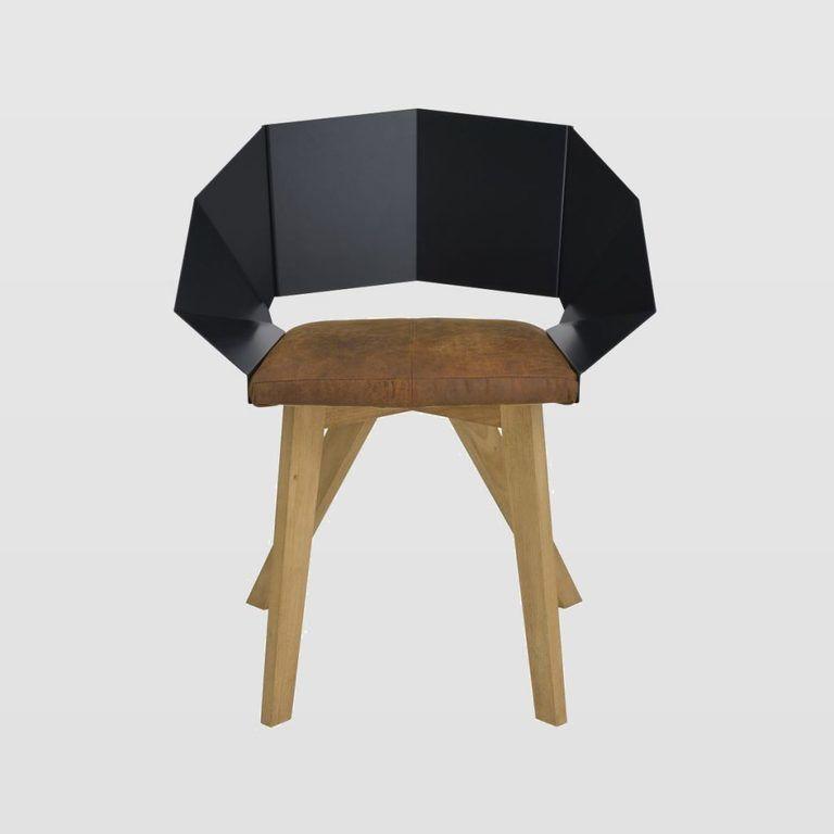 Krzesło KNIGHT na drewnianych nogach czarno brązowe FST0380 - Gie El