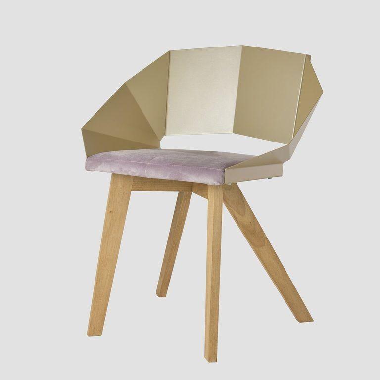 Krzesło KNIGHT na drewnianych nogach szampańsko różowe FST0382 - Gie El