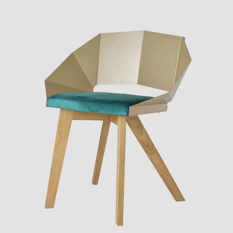 Krzesło KNIGHT na drewnianych nogach szampańsko turkusowe FST0384 - Gie El