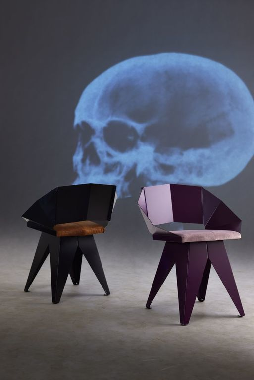 Stalowe krzesło KNIGHT czarno brązowe FST0390 - Gie El