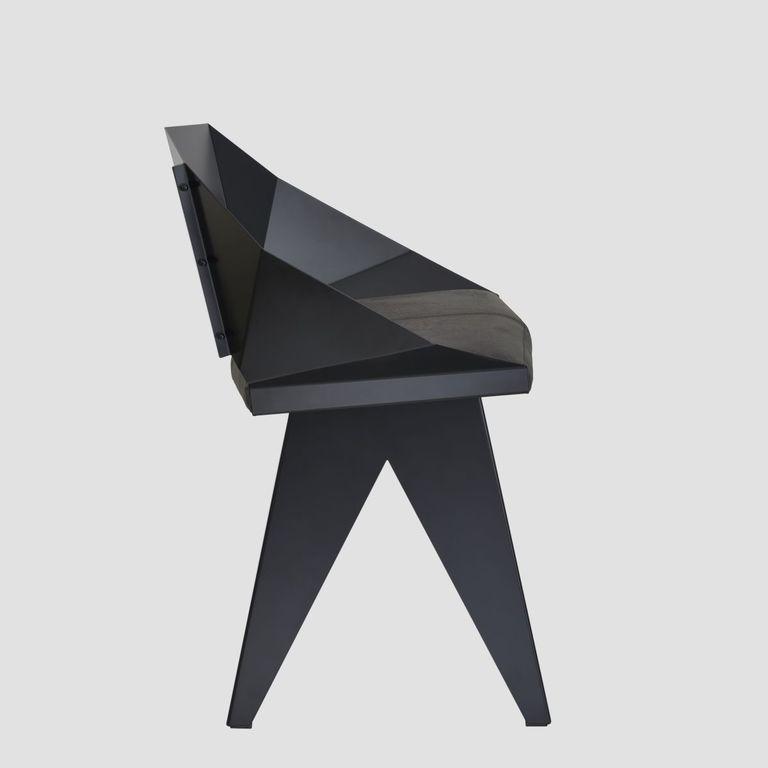 Stalowe krzesło KNIGHT czarne FST0391 - Gie El