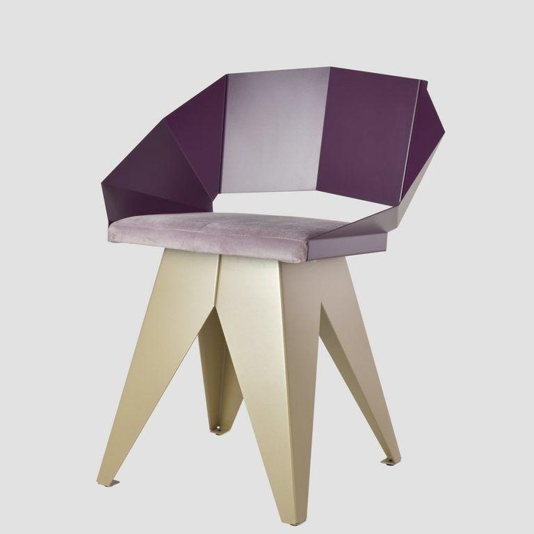 Stalowe krzesło KNIGHT śliwkowo szampańskie FST0396 - Gie El