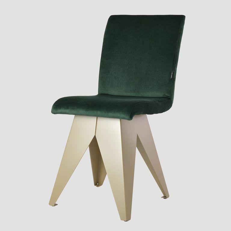 Krzesło na szampańskiej podstawie JAFAR ciemno zielone FST0414 - Gie El