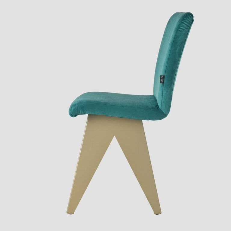 Krzesło na szampańskiej podstawie JAFAR turkusowe FST0415 - Gie El
