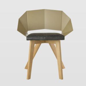 Krzesło KNIGHT na drewnianych nogach szampańsko czarne FST0388 - Gie El