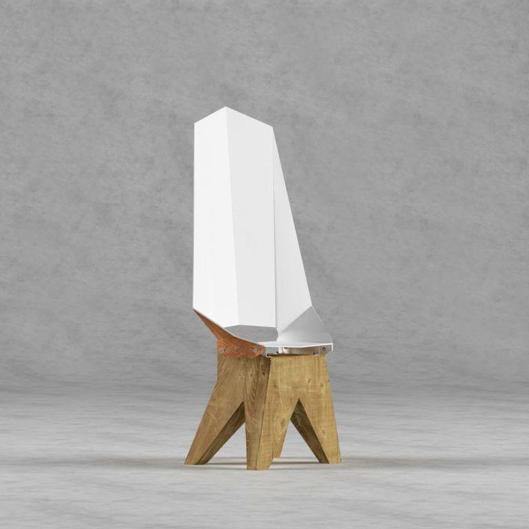 Biało-rdzawe stalowe krzesło na drewnianej bazie DUO KNIGHT THRONE FST0423 - Gie El