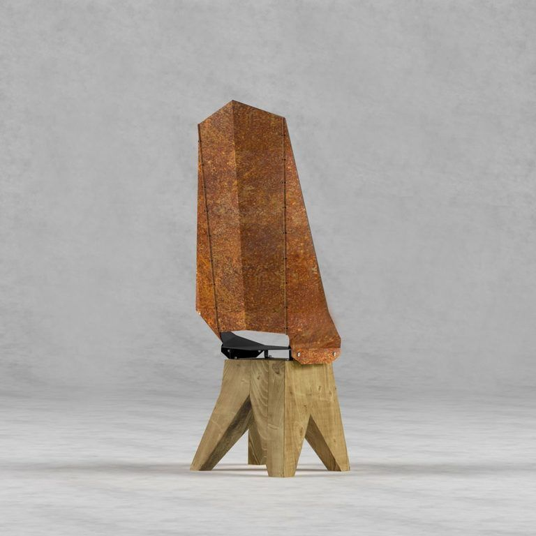Czarno-rdzawe stalowe krzesło na drewnianej bazie DUO KNIGHT THRONE FST0422 - Gie El