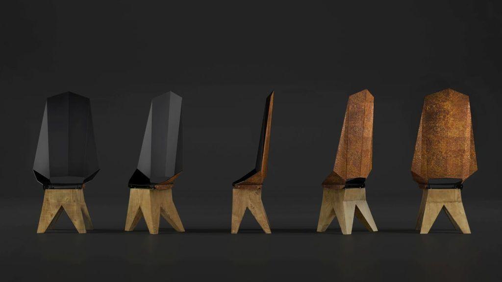 Czarno-rdzawe stalowe krzesło na drewnianej bazie DUO KNIGHT THRONE FST0422  -Gie El